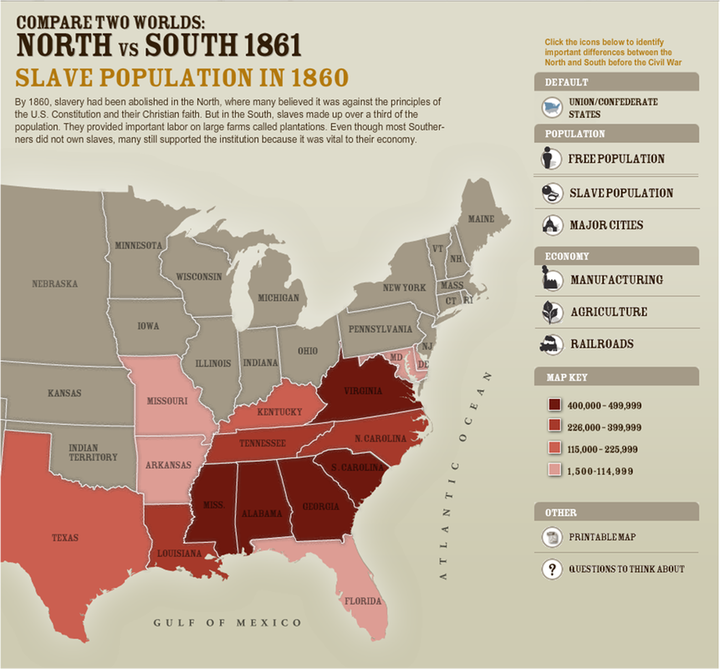 north v south slavery Differences between the north and south •36 '30 parallel –north of it free, south of it slave •kept union together but no one happy # of.